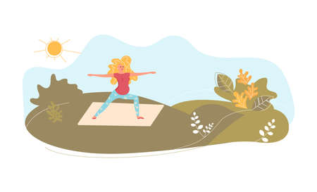 Young pregnant woman on the meadow in yoga pose. Metaphor of freedom and harmony with nature. Flat Art Vector Illustration