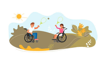 Young smiling man and woman in wheelchairs are playing tennis on meadow. Cute funny handicapped have summer activity. Flat Art Vector Illustration Ilustracja