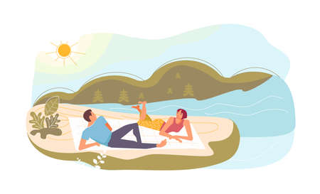 Couple or friends at picnic. Young smiling man and woman are talking on the beach. Cute funny people have relax. Flat Art Vector Illustration