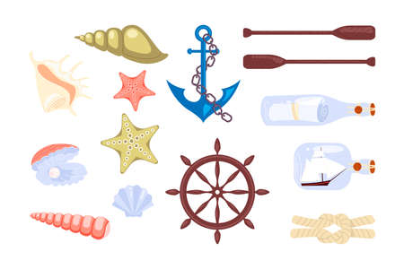 Set of nautical elements with sailor and sea animals - ship anchor wheel rope and seashells letter in a bottle. Flat Art Vector Illustration