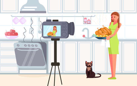 Woman blogger shooting video content for broadcast social media networking concept. Freelancer creates cooking blog and making thanksgiving turkey. Flat Art Vector illustration