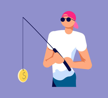 A man catches private info, digital passwords and others by a fishing rod. Magnet fishing metaphor. Isolated on purple. Flat Art Vector Illustration 일러스트