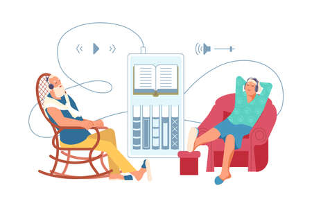 Elderly people listening music or audiobook through headphones. Grandparents are using digital technology audio book from smartphone sitting in chairs. Flat Art Vector Illustration
