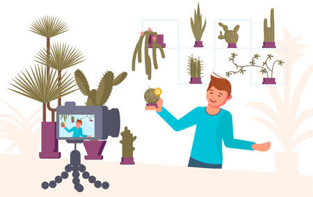 Man blogger shooting video content for broadcast social media networking concept. Freelancer creates growing and caring for cactus and succulents growing blog. Flat Art Vector illustration