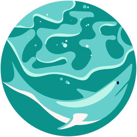 Social Media Story highlight icon in sea stile. Underwater scene with danger shark. Flat Art Vector illustration 矢量图像