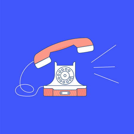 Retro Phone calls isolated on bright blue background. Vintage Telephone in outline modern design. Flat Art Vector Illustration
