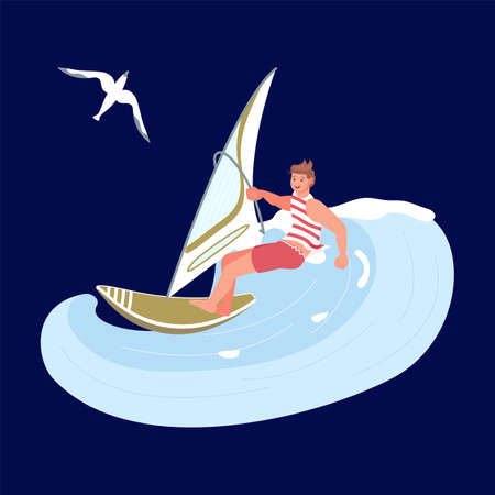 Windsurfer man in sea wave, extreme sport, surfing and sail concept on the dark blue background. Flat Art Vector illustration