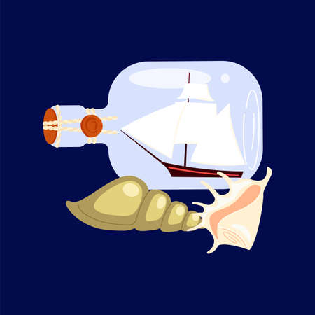 Set of nautical elements with marine souvenirs collection - yacht in bottle and seashells on the dark blue background. Flat Art Vector illustration