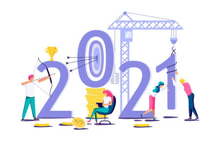2021 banner template. Business people build new year concept. Isolated on white. Flat Art Vector Illustration