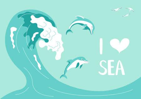 Postcard I love sea in a marine style. Ocean scene with dolphins jump on the waves on aquamarine background. Flat Art Vector illustration Иллюстрация
