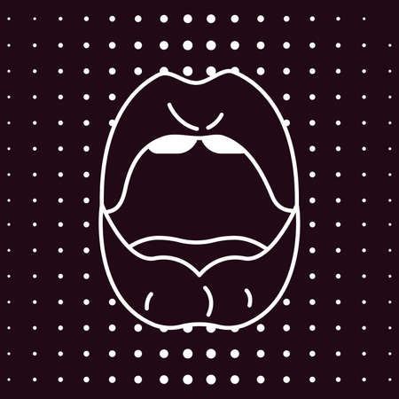 Comic Woman lips pop art retro style. White line mouth opened in surprise and says wow on black background. Vector Illustration