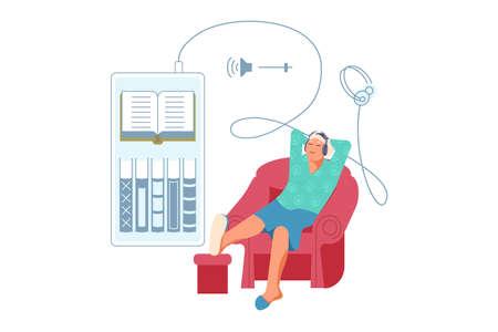 Elderly man listening music or audiobook through headphones. Grandmather is using digital technology audio book from smartphone sitting in chair. Flat Art Vector Illustration