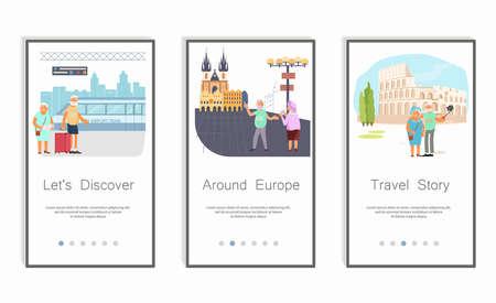 Set of Travel chronicle old people. Screens user interface kit for Journey or Traveler, mobile app templates. Modern UX, UI screen for mobile or responsive website. Flat Art Vector Illustration