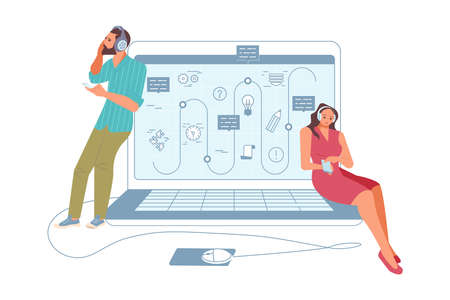 Outline Opened laptop and Young People remote workplace. Notebook computer symbol, man and woman Browsing Internet, Chatting, Blogging. Flat Art Vector Illustration