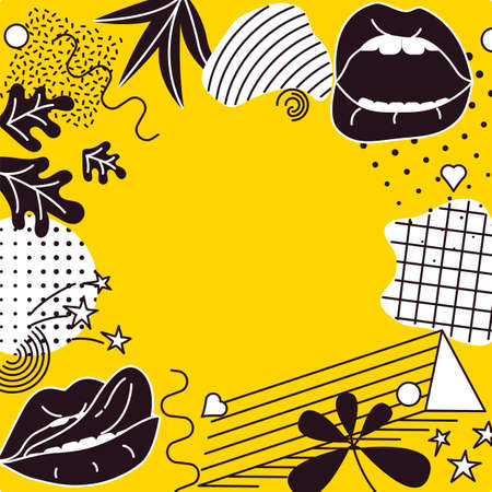 Pop Art style comic pattern frame composition with black lips and graphic elements on the yellow background. Vector Illustration
