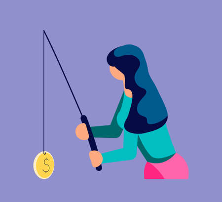 A woman catches private info, digital passwords and others by a fishing rod. Magnet fishing metaphor. Isolated on purple. Flat Art Vector Illustration