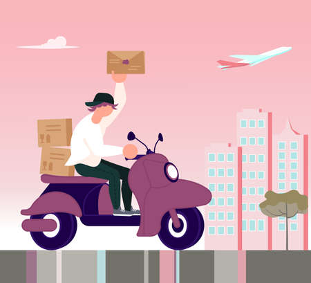 Square banner of Courier service. Fast delivery by scooter on the city and a pink sunset background, Online order concept, Ecommerce. Flat Art Vector Illustration Иллюстрация