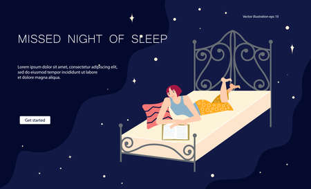 Landing web page template of types of insomnia. Young woman lies on his stomach in her bed and flips through a magazine or book. Missed night of sleep. Flat Art Vector Illustration