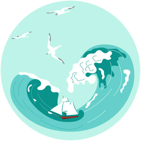 Social Media Story highlight icon in sea stile. Underwater scene with marine sailing ship among storm waves. Flat Art Vector illustration