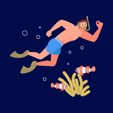 Young man in diving mask watching marine fauna during swimming in sea or ocean. Snorkeler observing coral reef. Sunken ship and underwater marine animals in background. Flat Art Vector Illustration