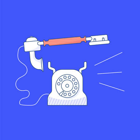 Retro Phone is calling isolated on blue background. Vintage Telephone icon in outline modern design. Flat Art Vector Illustration