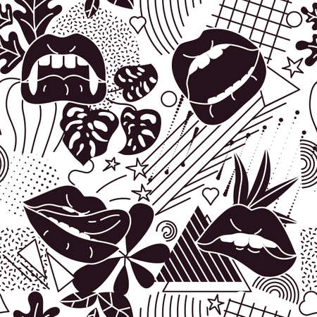 Pop Art style comic seamless pattern composition with black lips and graphic elements on the white background. Vector Illustration