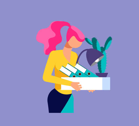 Dismissed frustrated woman carrying box with her things. Unemployment and jobless or job reduction metaphor. Isolated on purple. Flat Art Vector Illustration
