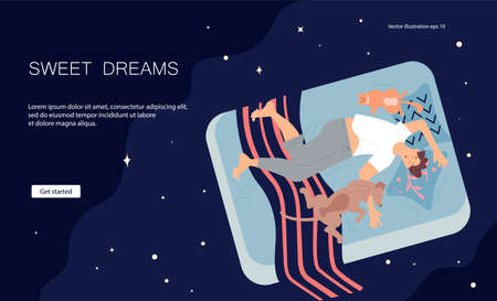 Landing web page template with Young man character is lying on back between pets and sound asleep. Guy, cat and dog sleep deeply on one bed. Sleeping control concept. Flat Art Vector illustration