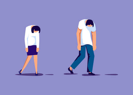 Exhaustion business people in prostration with wind-up key in her back. Overwork and professional burnout metaphor. Isolated on purple. Flat Art Vector Illustration Иллюстрация