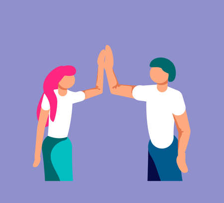 Two young entrepreneurs are giving high five for great work. Successfully performed work or deal metaphor. Isolated on purple. Flat Art Vector Illustration Vettoriali