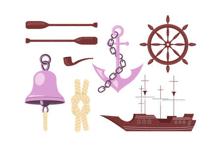 Set of nautical elements with ship anchor wheel rope and others. Flat Art Vector Illustration