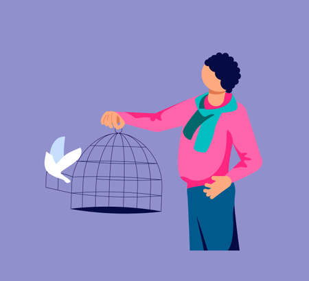 Man lets out the flock of bird from a cage. Freedom and happiness metaphor. Isolated on purple. Flat Art Vector Illustration