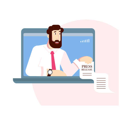 Man have a online press conferece by laptop, world live tv news streaming or interview. Vlogging broadcast and video recording. Flat Art Vector Illustration