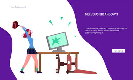 Landing web page template for burnout syndrome. Angry woman destroys his workplace and computer. Psychological trauma and mental disorder metaphor. Flat Art Vector Illustration Иллюстрация
