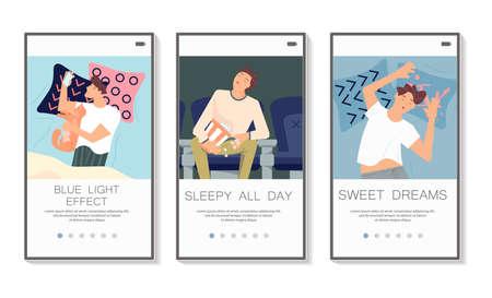Sleep control social media stories set. Screens user interface kit for insomnia types or health sleeping, mobile app templates. UI, UX screen mobile or responsive website. Flat Art Vector Illustration Иллюстрация