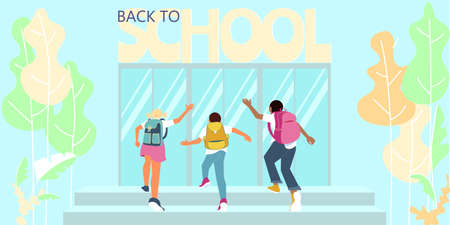 Schoolchildren with backpacks run up the stairs. SStart of classes, back to school concept. Flat Art Vector Illustration