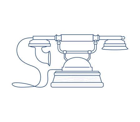 Retro Phone icon isolated on white background. Vintage Telephone in outline modern design. Flat Art Vector Illustration Иллюстрация