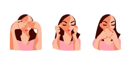 Turning blind eye, ears and mouth cartoon concept. Young woman refusing to watch, hear or speak, avoiding knowing evident facts. Flat Art Vector Illustration