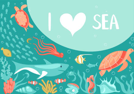 Postcard I love sea in a marine style. Underwater scene with underwater life elements, tropical animals, corals and fishes on aquamarine background.