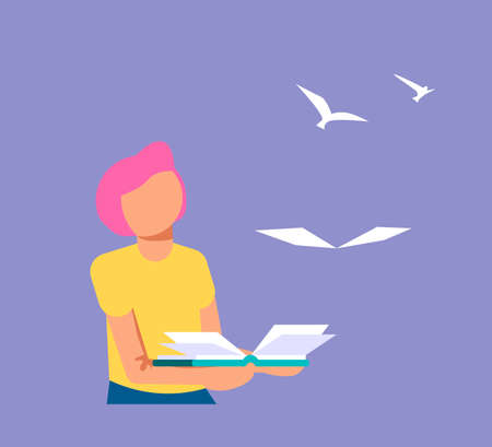 The Boy holds open book in his hand, paper pages became to the flock of birds and fly away. Education or reading metaphor. Isolated on purple. Flat Art Vector Illustration