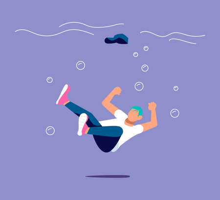 Small business sinking and drowning. Failure, bankruptcy, financial crisis metaphor.  Иллюстрация