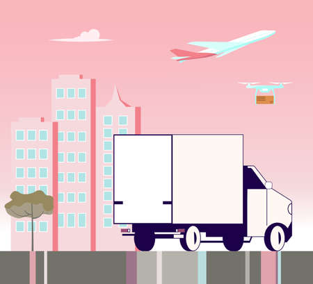 Square banner of Courier service. Fast delivery by car on the city and a pink sunset background, Online order concept, Ecommerce. Flat Art Vector Illustration