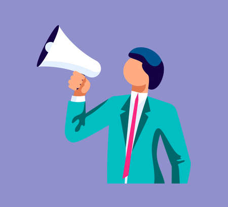 Young business speaks a leadership speech into a shout or a megaphone. The announcement of good news. Isolated on purple. Flat Art Vector Illustration Vettoriali
