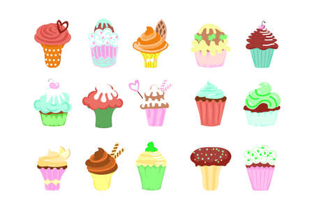 Cakes in cartoon style set. Collection of colorful pies. Flat Art Vector Illustration Иллюстрация