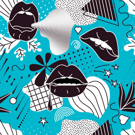 Pop Art style comic seamless pattern composition with black lips and graphic elements on the blue background. Иллюстрация