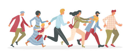 Joyful running People group bunner. Diversity of men and women late, hurry or haste. Flat Art Vector Illustration 向量圖像