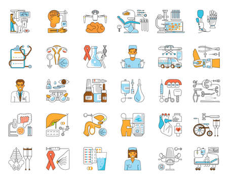 Medical and healthcare icon set. Med outline sign isolated on white background. Suitable for infographic, websites and print media. Flat Art Vector Illustration
