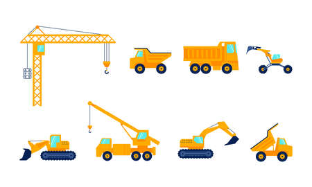 Construction machines for the construction work. Special equipment, Orange Commercial Vehicles set. Isolated on white. Flat Art Vector Illustration Иллюстрация