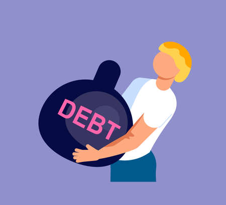 Businessman is pulling a huge weight with a debt. Bankruptcy and investment failure and budget collapse. Economic crisis caused by coronavirus outbreak. Flat Art Vector Illustration
