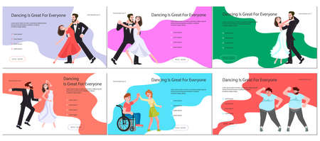 Promotional banner, brochure, or greeting card, invitation poster for dance studio. Party Flyers set with diversity of couple dancing. Flat Art Vector Illustration